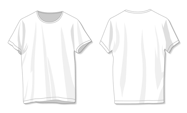 Modelo de camiseta branca em branco frente e verso