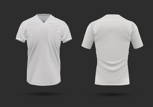 Modelo de camiseta branca realista frente e verso