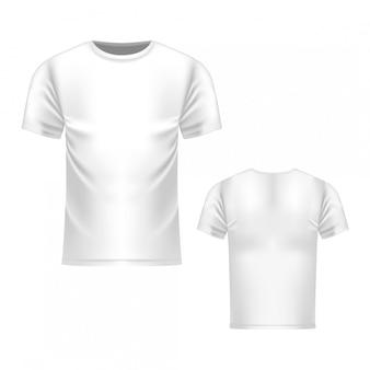 Modelo de camiseta branca, vista frontal e traseira. realista