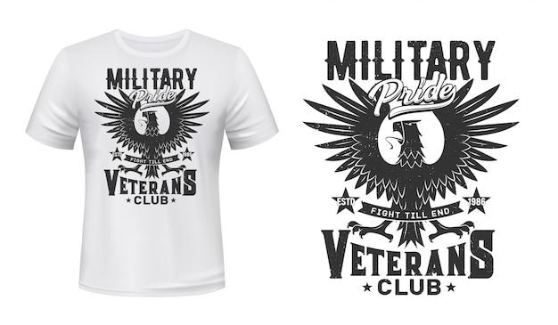 Modelo de camiseta com estampa de águia, clube de veteranos militares
