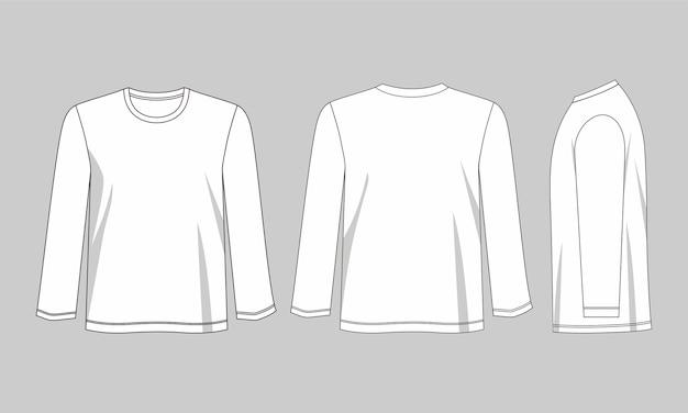 Modelo de camiseta de manga comprida
