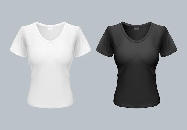 Modelo de camiseta feminina vista frontal e traseira em preto e branco