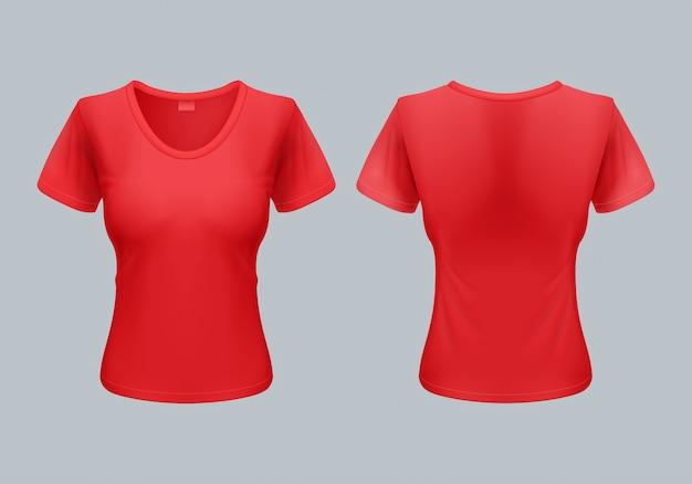 Modelo de camiseta feminina vista frontal e traseira em vermelho