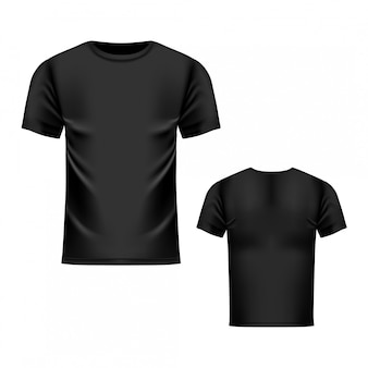 Modelo de camiseta preta, vista frontal e traseira. realista