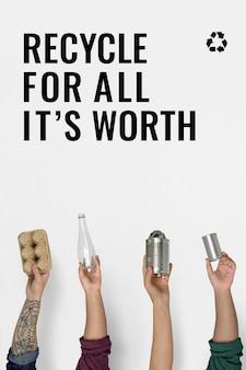 Modelo de campanha de reciclagem com borda de objetos recicláveis para gerenciamento de resíduos Vetor grátis