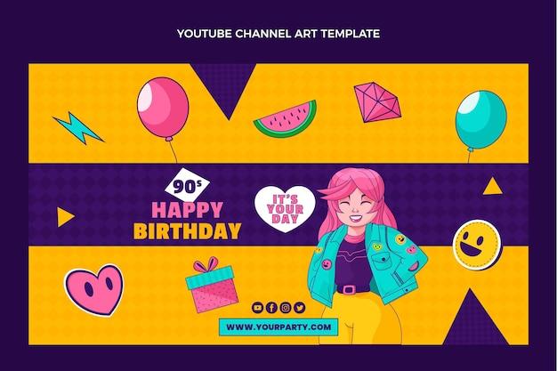 Modelo de canal do youtube de aniversário dos anos 90 desenhado à mão