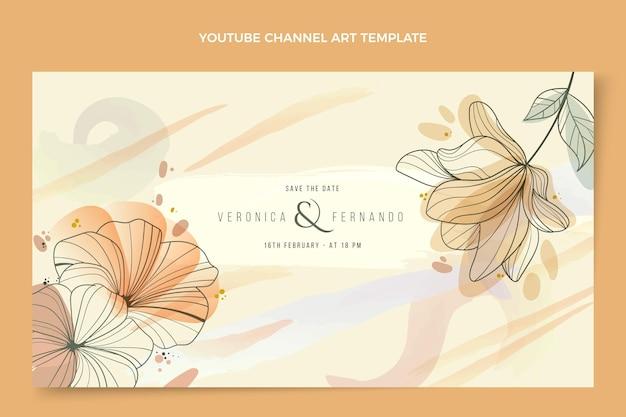 Modelo de canal do youtube de casamento desenhado à mão