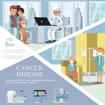 Modelo de câncer infantil plano com crianças doentes recebendo tratamento médico de doenças oncológicas, cirurgia e procedimentos de diagnóstico de oncologia