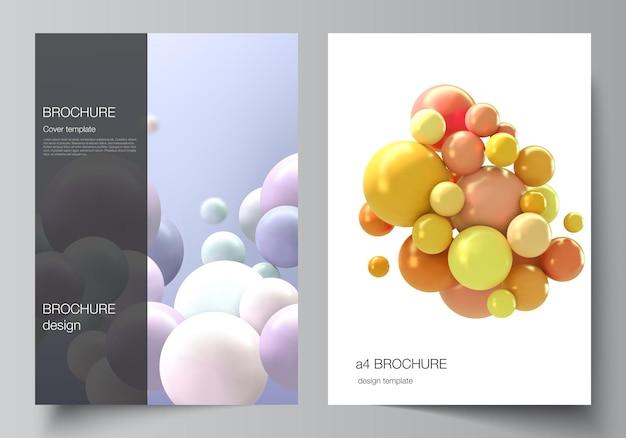 Modelo de capa com esferas 3d multicoloridas, bolhas, bolas.