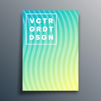 Modelo de capa com linhas onduladas para flyer, cartaz, folheto, tipografia ou outros produtos de impressão.