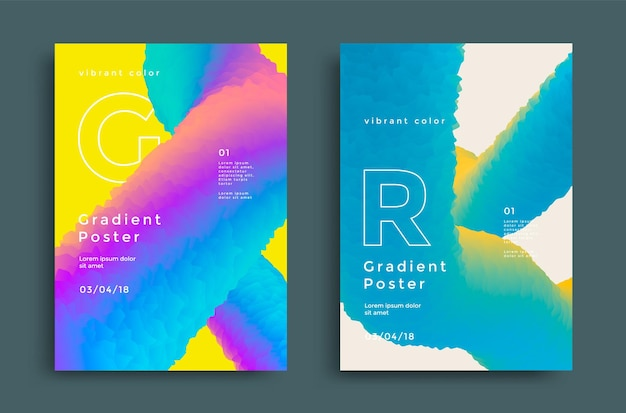 Modelo de capa criativa com forma vibrante de gradientes.