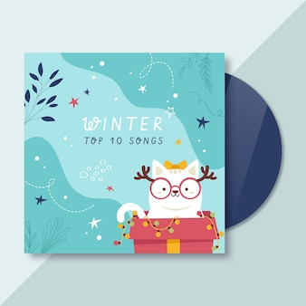 Modelo de capa de cd de inverno ilustrado