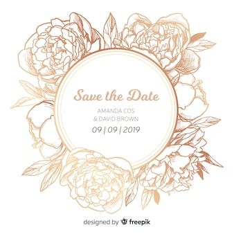 Modelo de capa de convite de casamento com flores peônia linda