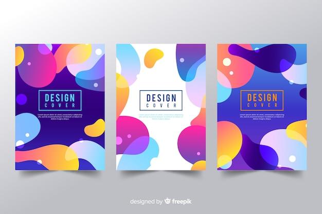 Modelo de capa de design com efeito líquido colorido