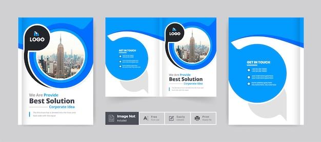 Modelo de capa de design de brochura comercial corporativa moderna layout de tema de apresentação de brochura com duas dobras