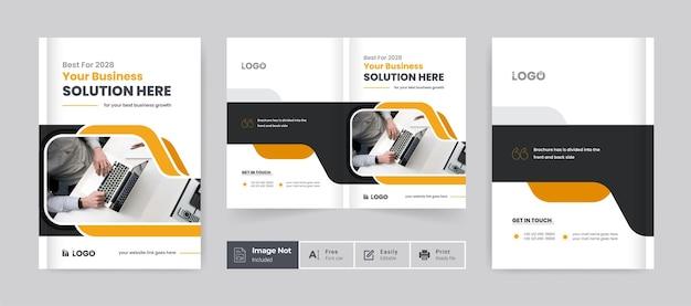 Modelo de capa de design de brochura comercial criativo corporativo com duas dobras layout de tema de apresentação de brochura