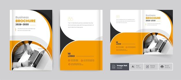 Modelo de capa de design de brochura comercial layout de tema de apresentação de brochura corporativa com duas dobras