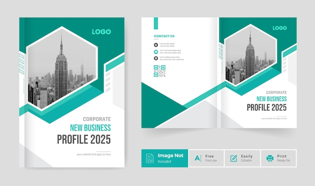 Modelo de capa de design de brochura comercial perfil da empresa relatório anual página de rosto tema moderno