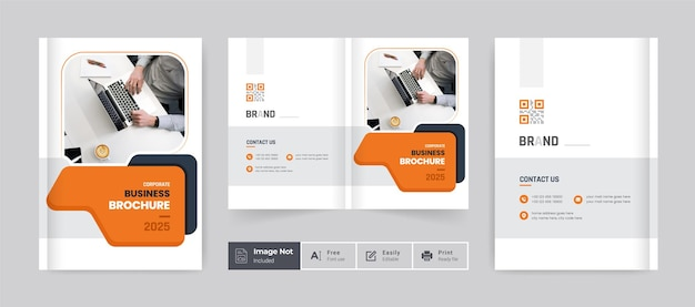 Modelo de capa de design de brochura perfil da empresa relatório anual página de capa amarelo escuro tema moderno