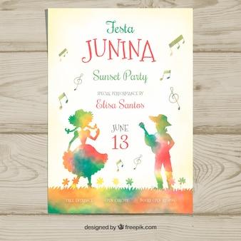 Modelo de capa de junina de festa de mão desenhada