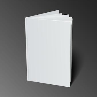Modelo de capa de livro em branco com páginas no lado da frente em pé