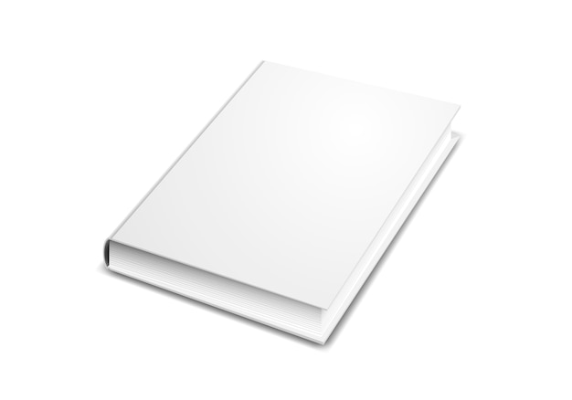Modelo de capa de livro em perspectiva isolado no branco