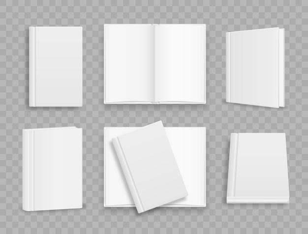 Modelo de capa de livro vertical em branco com páginas na frente