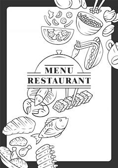 Modelo de capa de menu de restaurante.