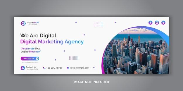 Modelo de capa de mídia social corporativa de marketing digital