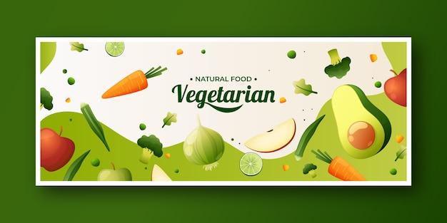 Modelo de capa de mídia social de comida vegetariana gradiente