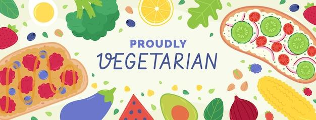Modelo de capa de mídia social de comida vegetariana plana desenhada à mão