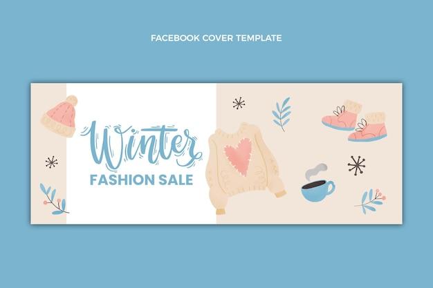 Modelo de capa de mídia social de inverno em aquarela