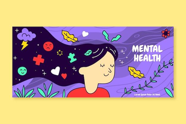 Modelo de capa de mídia social de saúde mental desenhado à mão