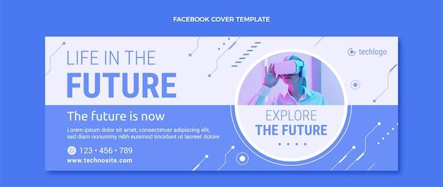 Modelo de capa de mídia social de tecnologia plana mínima
