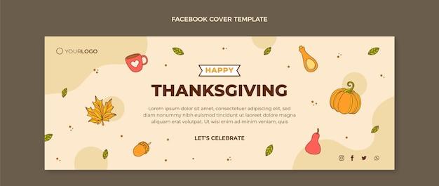 Modelo de capa de mídia social desenhado à mão para o dia de ação de graças