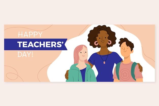 Modelo de capa de mídia social desenhado à mão para o dia dos professores