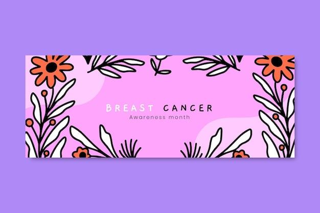 Modelo de capa de mídia social desenhado à mão para o mês de conscientização do câncer de mama
