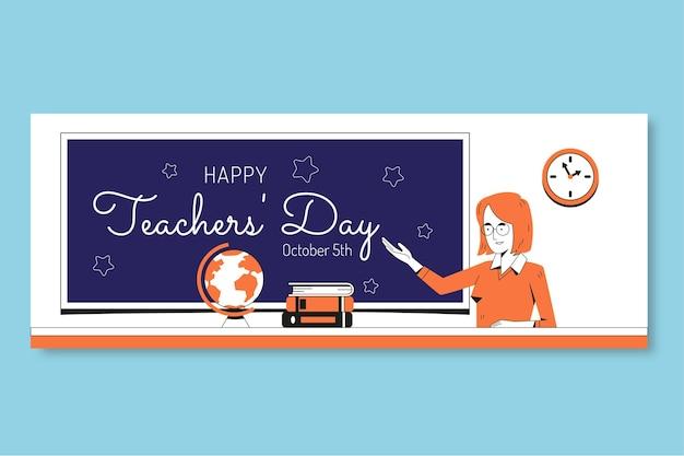 Modelo de capa de mídia social do dia dos professores desenhada à mão