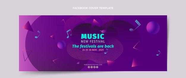 Modelo de capa de mídia social gradiente colorido para festival de música