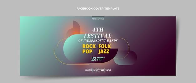 Modelo de capa de mídia social para festival de música de textura gradiente