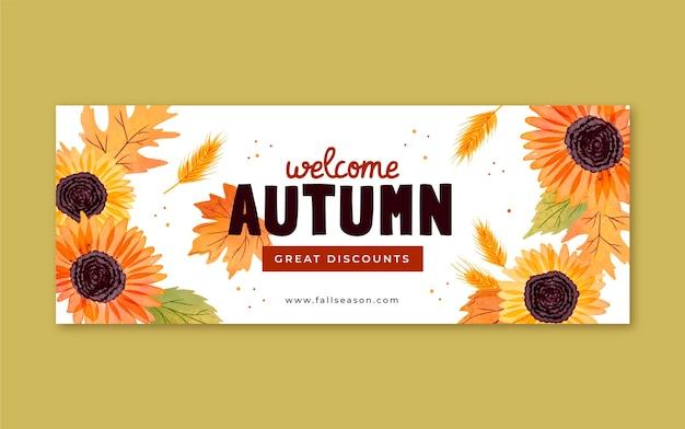 Modelo de capa de outono em aquarela de mídia social
