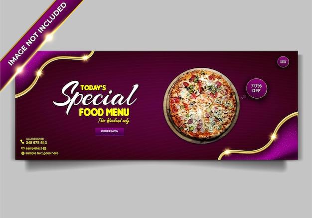 Modelo de capa de postagem de mídia social de restaurante de menu de comida luxuosa