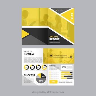 Modelo de capa de relatório anual amarelo