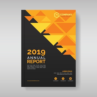 Modelo de capa de relatório anual com formas geométricas triangulares