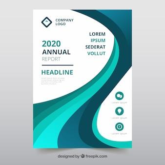 Modelo de capa de relatório anual com formas onduladas