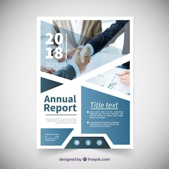 Modelo de capa de relatório anual com imagem