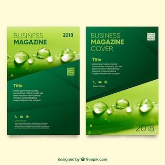 Modelo de capa de revista de natureza com foto