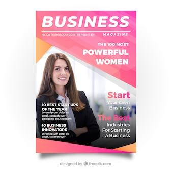 Modelo de capa de revista de negócios com foto