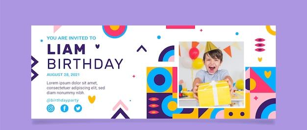 Modelo de capa do facebook de aniversário em mosaico de design plano