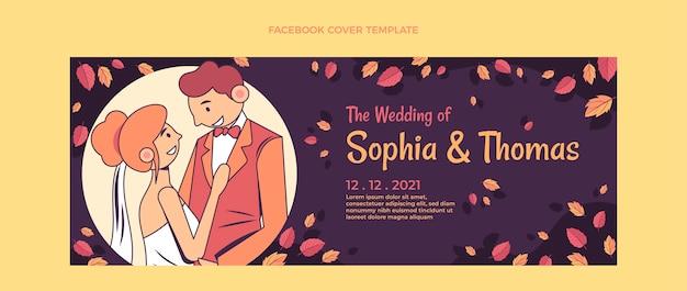 Modelo de capa do facebook de casamento desenhado à mão